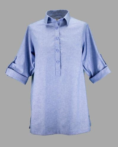 Grenouille Ladies Long Sleeve Blue Cotton Oxford Collared Tunic