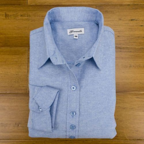 Grenouille Ladies Long Sleeve Blue Cotton Oxford Shirt