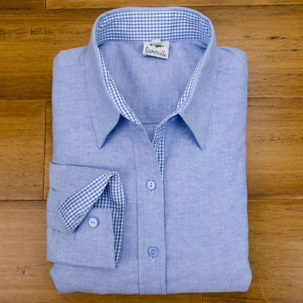 Grenouille Ladies Long Sleeve Blue Cotton Oxford Shirt with Blue and White Gingham Check Accents