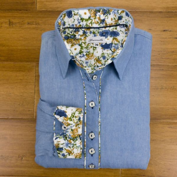 Grenouille Ladies Long Sleeve Blue Denim Shirt with Blue, White and Gold Flower Detail