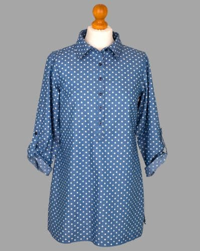 Grenouille Ladies Long Sleeve Blue Denim with White Spot Collared Tunic