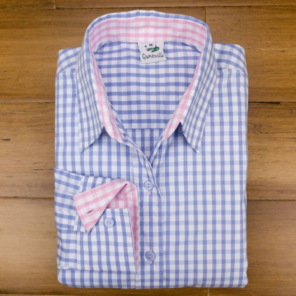 Grenouille Ladies Long Sleeve Blue Gingham Check Easy Care Cotton Shirt