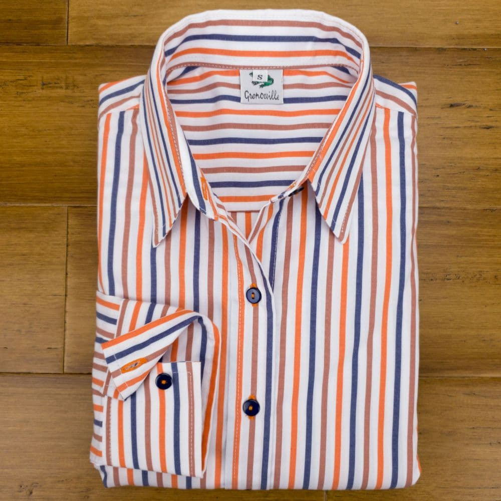Grenouille Ladies Long Sleeve Blue, Orange and Brown Stripe Easy Care Cotton Shirt