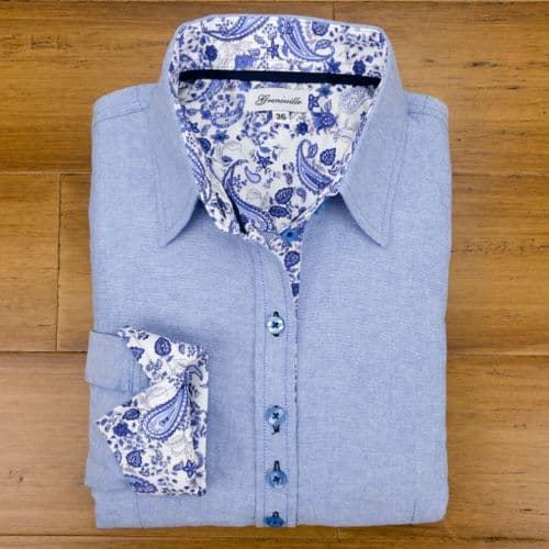 Grenouille Ladies Long Sleeve Blue Oxford Shirt with Blue Paisley Print Detail