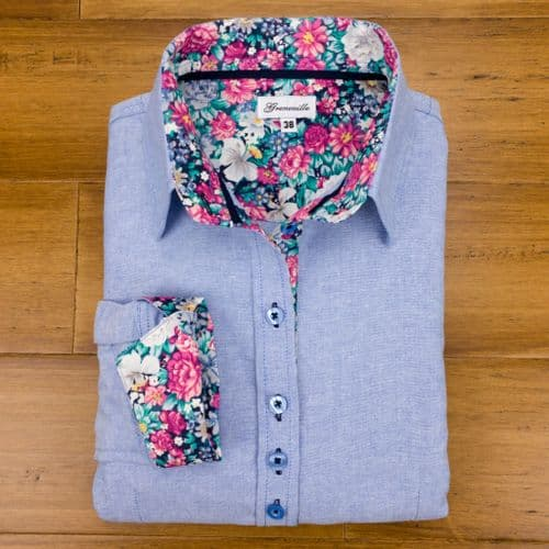 Grenouille Ladies Long Sleeve Blue Oxford Shirt with Pink and Green Flower Print Detail