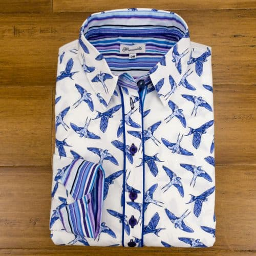 Grenouille Ladies Long Sleeve Blue Swallow Print Shirt