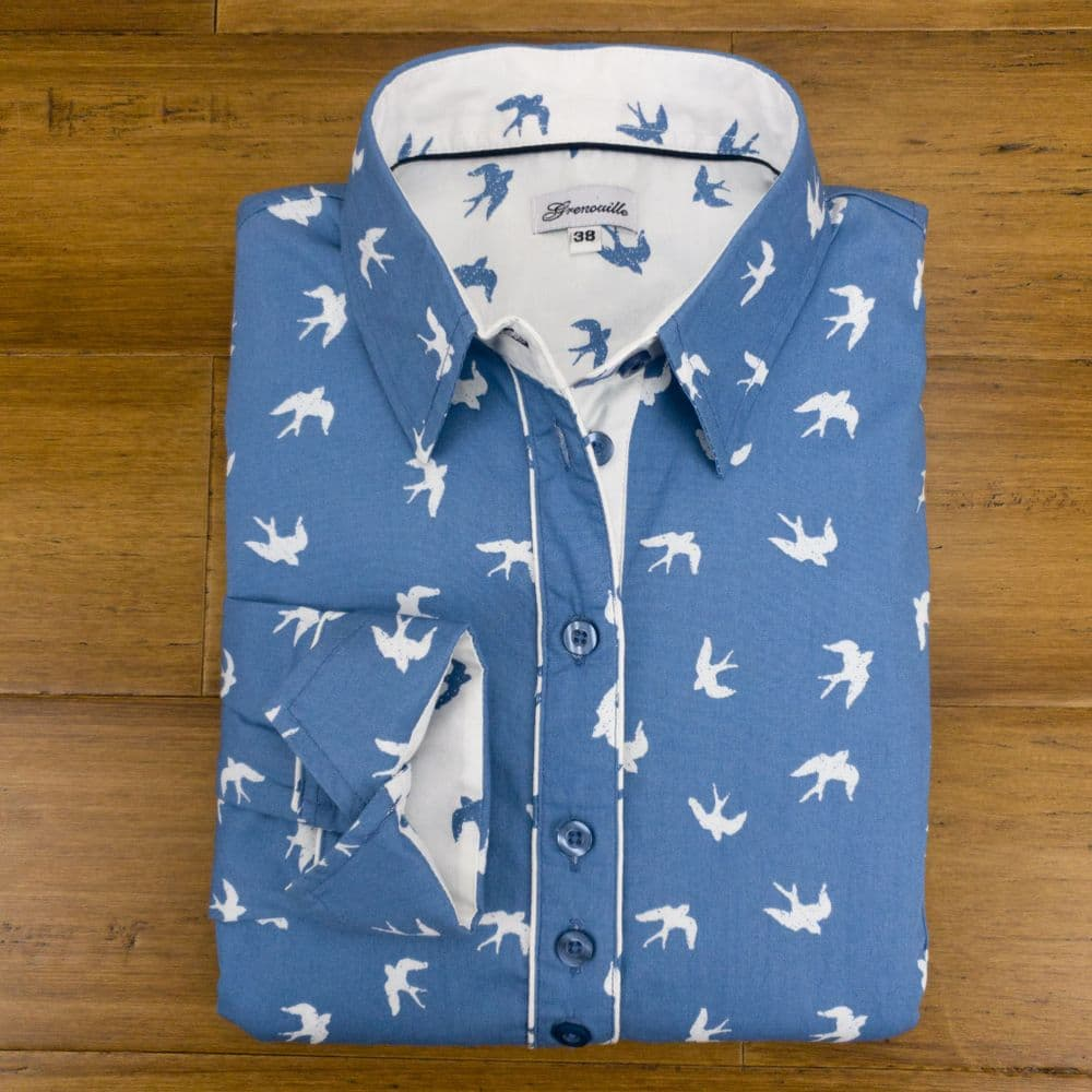 Grenouille Ladies Long Sleeve Blue with White Swallow Silhouette Print Shirt