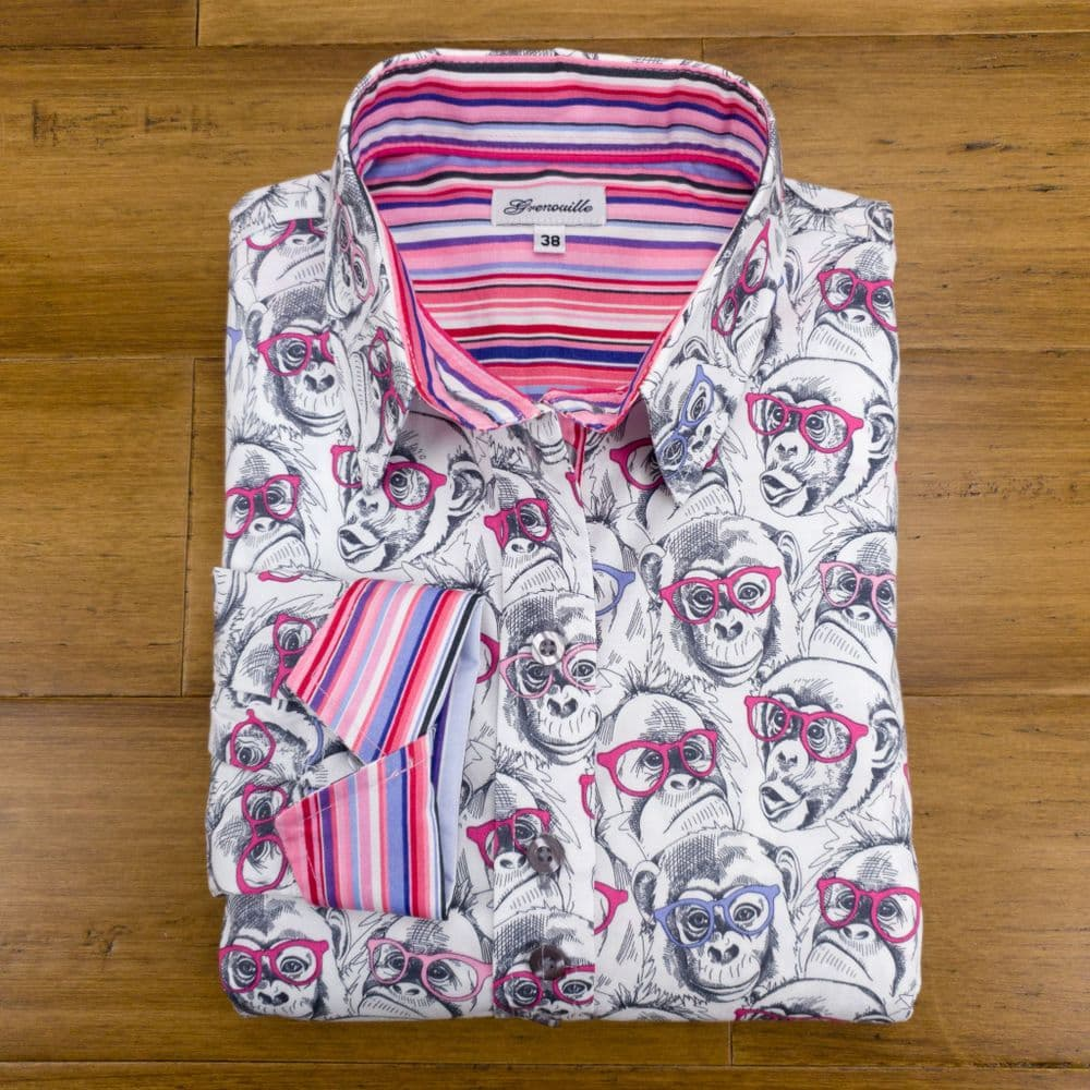 Grenouille Ladies Long Sleeve Cheeky Chimps Print Shirt