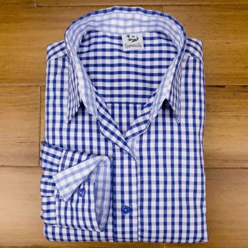 Grenouille Ladies Long Sleeve Dark Blue Gingham Check Easy Care Cotton Shirt
