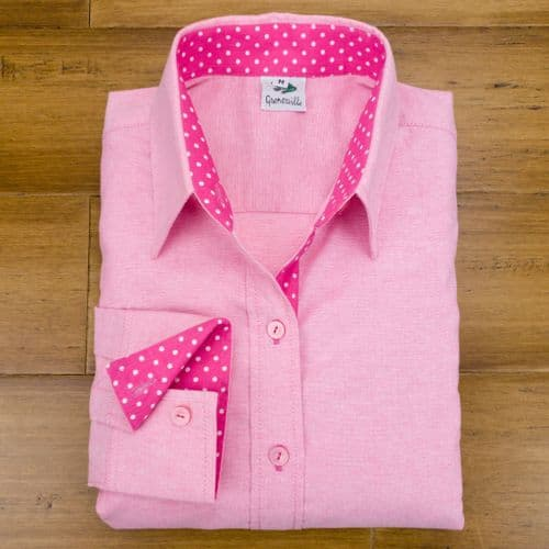 Grenouille Ladies Long Sleeve Dark Pink Cotton Oxford Shirt with Pink and White Polka Dot Accents