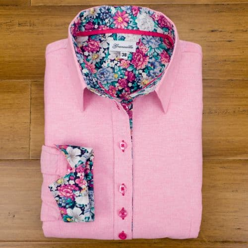 Grenouille Ladies Long Sleeve Dark Pink Oxford Shirt with Pink and Green Flower Print Detail