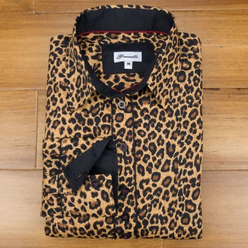 Grenouille Ladies Long Sleeve Golden Brown and Black Leopard Print Shirt