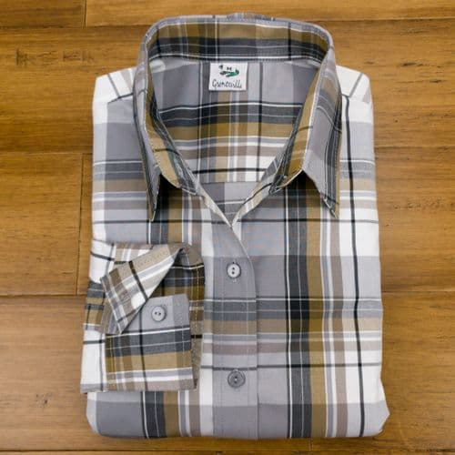 Grenouille Ladies Long Sleeve Grey and Black Check Easy Care Cotton Shirt