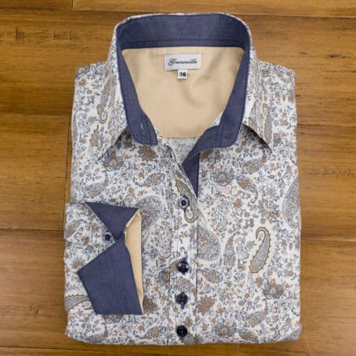 Grenouille Ladies Long Sleeve Grey, Tan and Cream Paisley Shirt