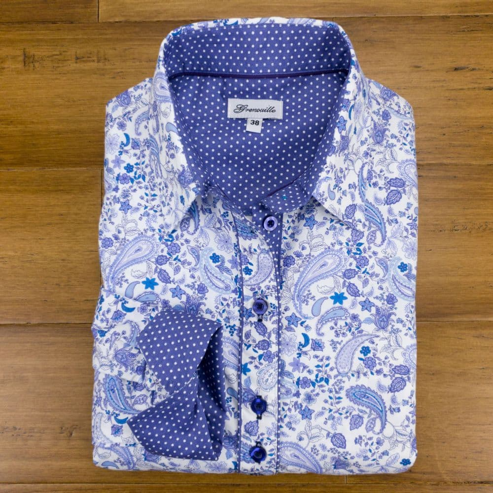 Grenouille Ladies Long Sleeve Light Blue Paisley Print Shirt