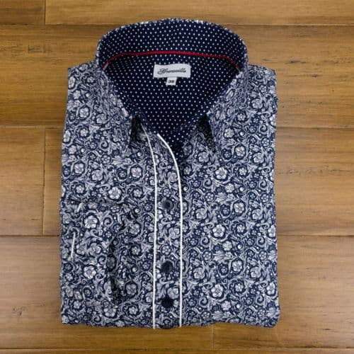 Grenouille Ladies Long Sleeve Navy and White Elizabethan Style Print Shirt