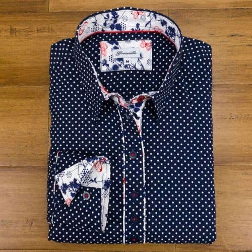 Grenouille Ladies Long Sleeve Navy and White Polka Dots with Butterfly Detail Shirt
