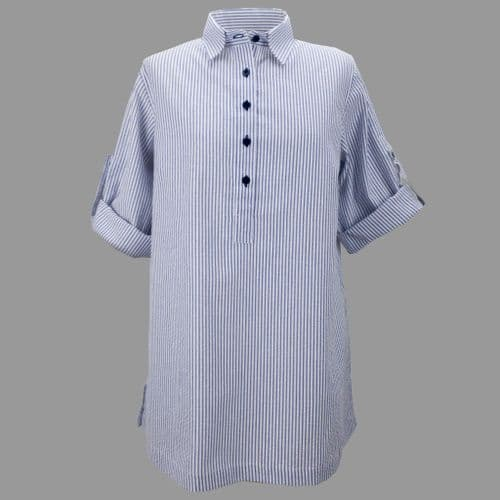 Grenouille Ladies Long Sleeve Navy and White Stripe Cotton Seersucker Collared Tunic