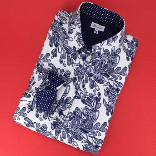 Grenouille Ladies Long Sleeve Navy and White Teardrop Paisley Print Detail Shirt