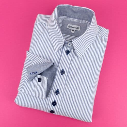 Grenouille Ladies Long Sleeve Navy Blue and White Stripe Cotton Oxford Shirt