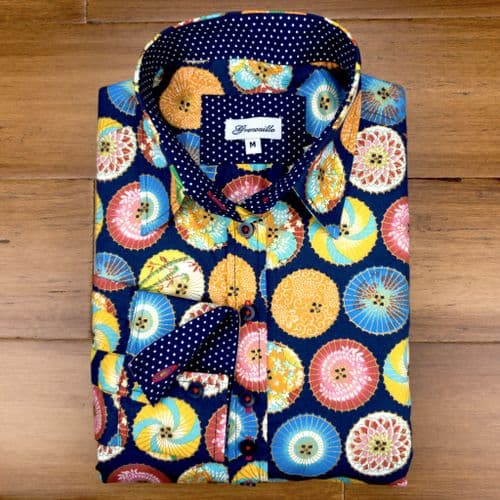 Grenouille Ladies Long Sleeve Navy Blue Shirt with Colourful Japanese Parasols Design
