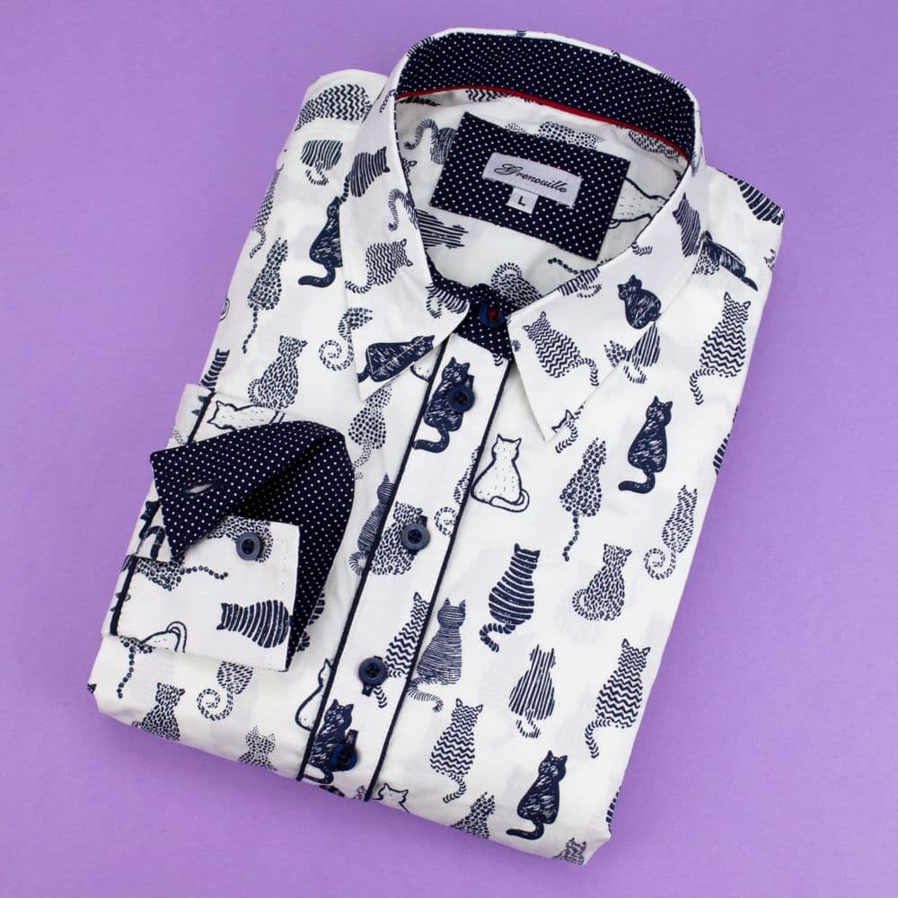 Grenouille Ladies Long Sleeve Navy Cat Silhouette Print Shirt