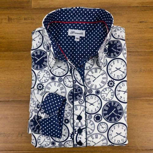 Grenouille Ladies Long Sleeve Navy Clock Print Shirt