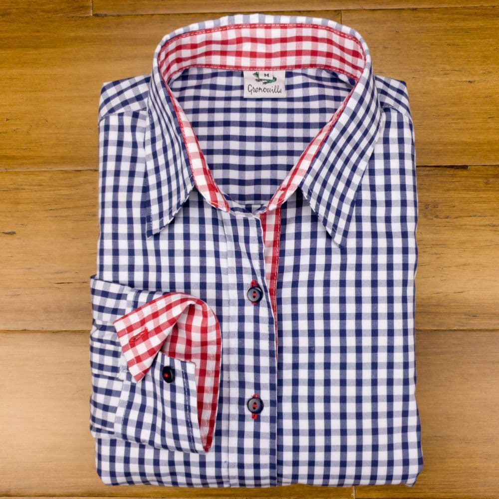 Grenouille Ladies Long Sleeve Navy Gingham Check Easy Care Cotton Shirt