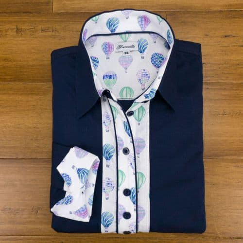 Grenouille Ladies Long Sleeve Navy Shirt with Hot Air Balloon Print Detail
