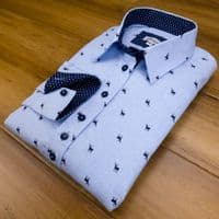 Grenouille Ladies Long Sleeve Navy Stag Blue Cotton Oxford Shirt