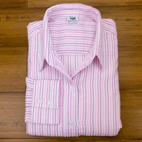 Grenouille Ladies Long Sleeve Pink and Lilac Candy Stripe Seersucker Shirt