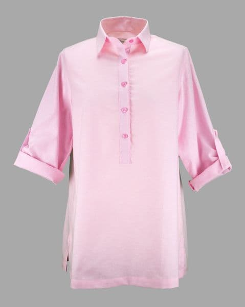 Grenouille Ladies Long Sleeve Pink Cotton Oxford Collared Tunic