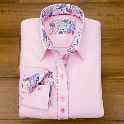 Grenouille Ladies Long Sleeve Pink Cotton Oxford Shirt with Pink and Blue Paisley Details