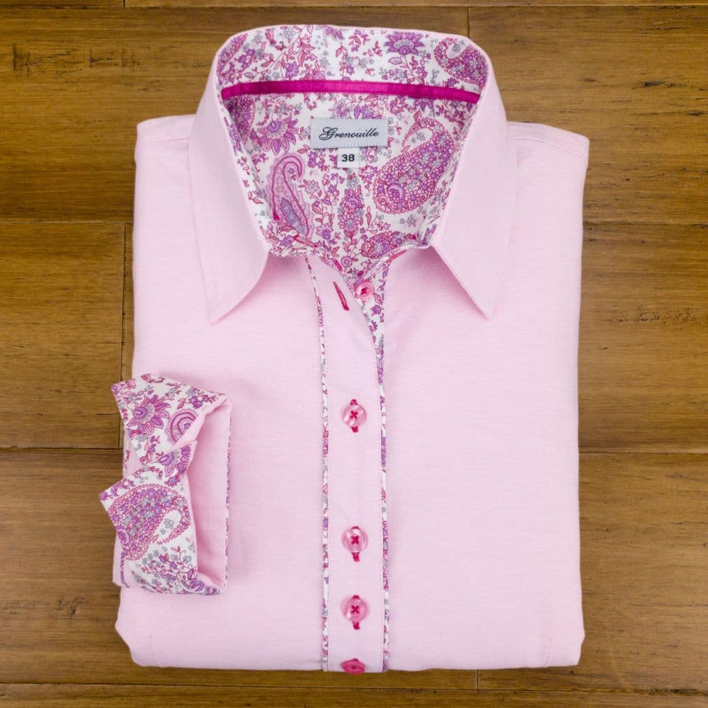 Grenouille Ladies Long Sleeve Pink Oxford Shirt with Pink Paisley Print Detail