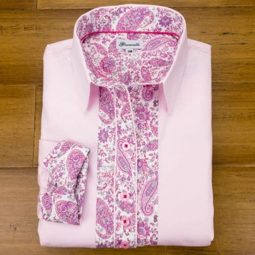 Grenouille Ladies Long Sleeve Pink Shirt with Pink and Grey Paisley Print Detail