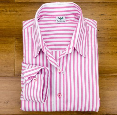 Grenouille Ladies Long Sleeve Pink Stripe Cotton Twill Shirt