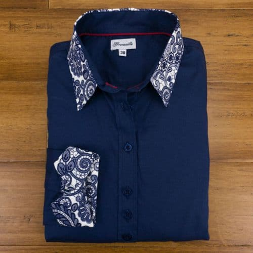 Grenouille Ladies Long Sleeve Plain Navy Blouse with Lace Print Detail