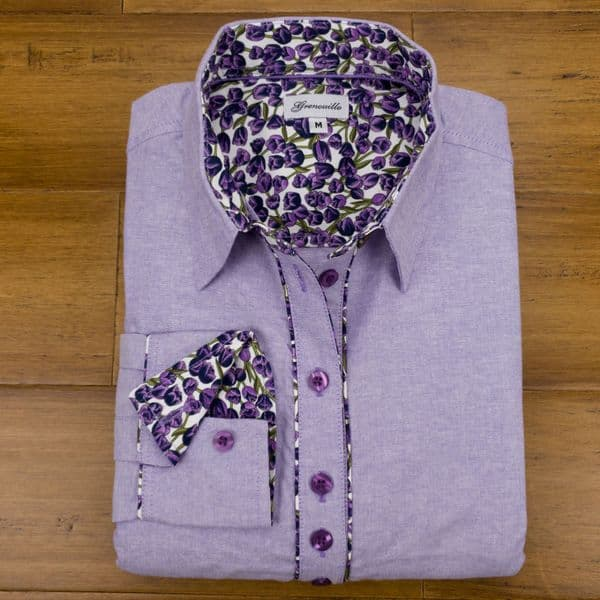 Grenouille Ladies Long Sleeve Purple Cotton Oxford Shirt with Purple Tulip Print Detail