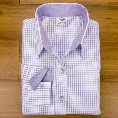 Grenouille Ladies Long Sleeve Purple Tattersall Check Easy Care Cotton Shirt
