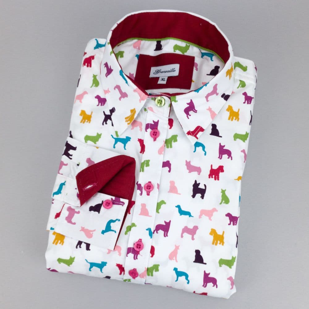 Grenouille Ladies Long Sleeve Rainbow Dog Print Relaxed Fit Shirt