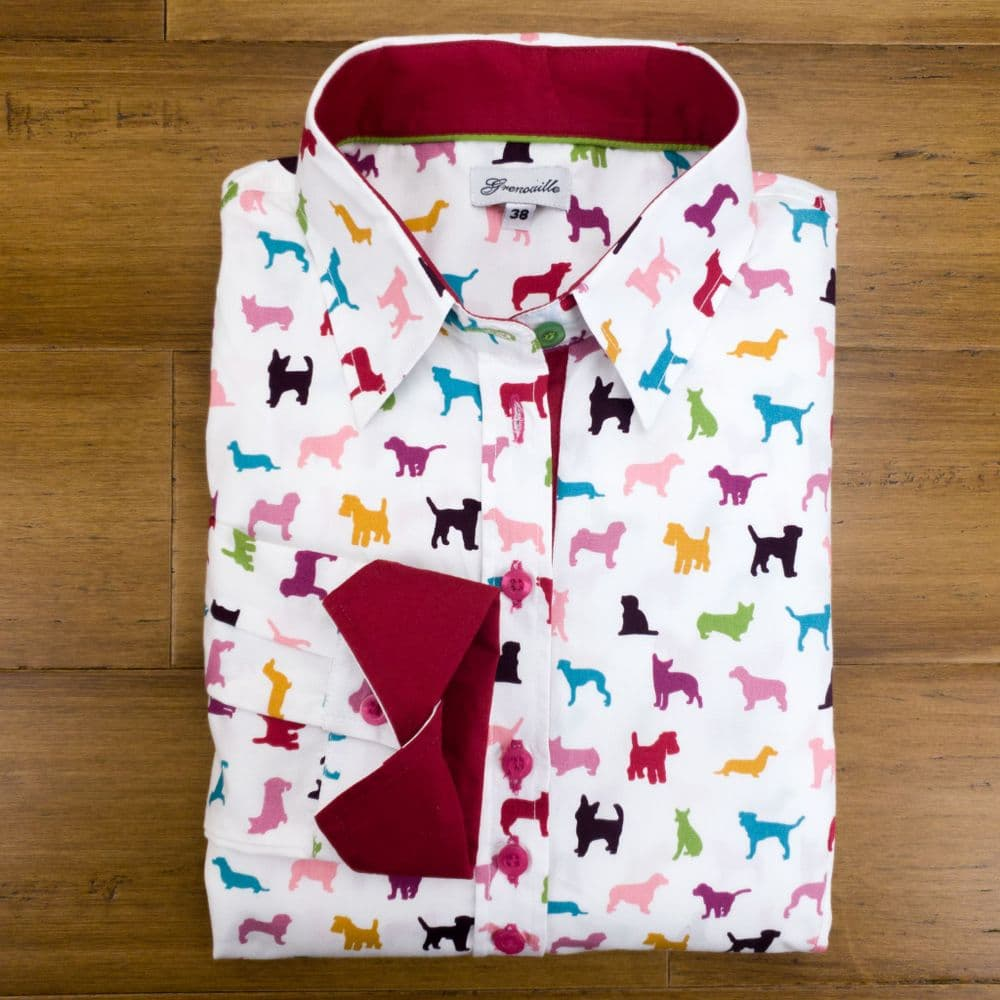 Grenouille Ladies Long Sleeve Rainbow Dog Print Shirt