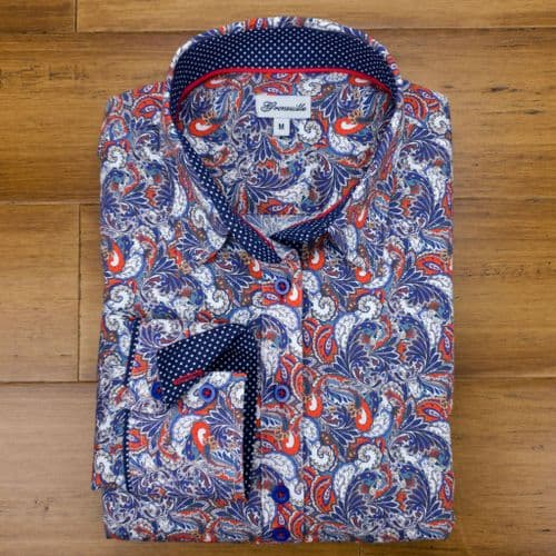 Grenouille Ladies Long Sleeve Red and Blue Paisley Print Stretch Cotton Shirt