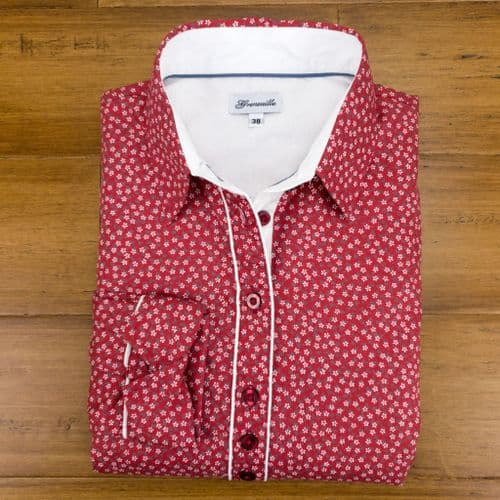 Grenouille Ladies Long Sleeve Red and Tiny White Flower Print Shirt