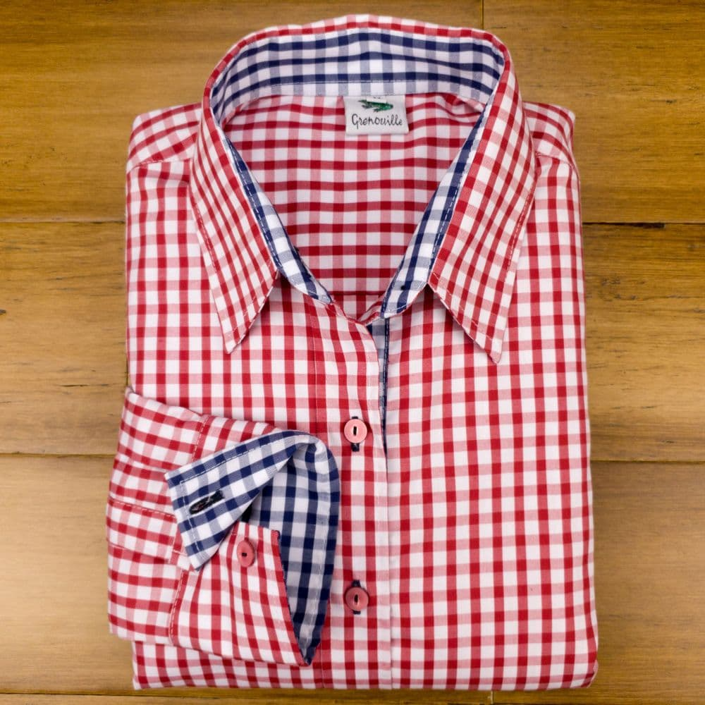 Grenouille Ladies Long Sleeve Red Gingham Check Easy Care Cotton Shirt