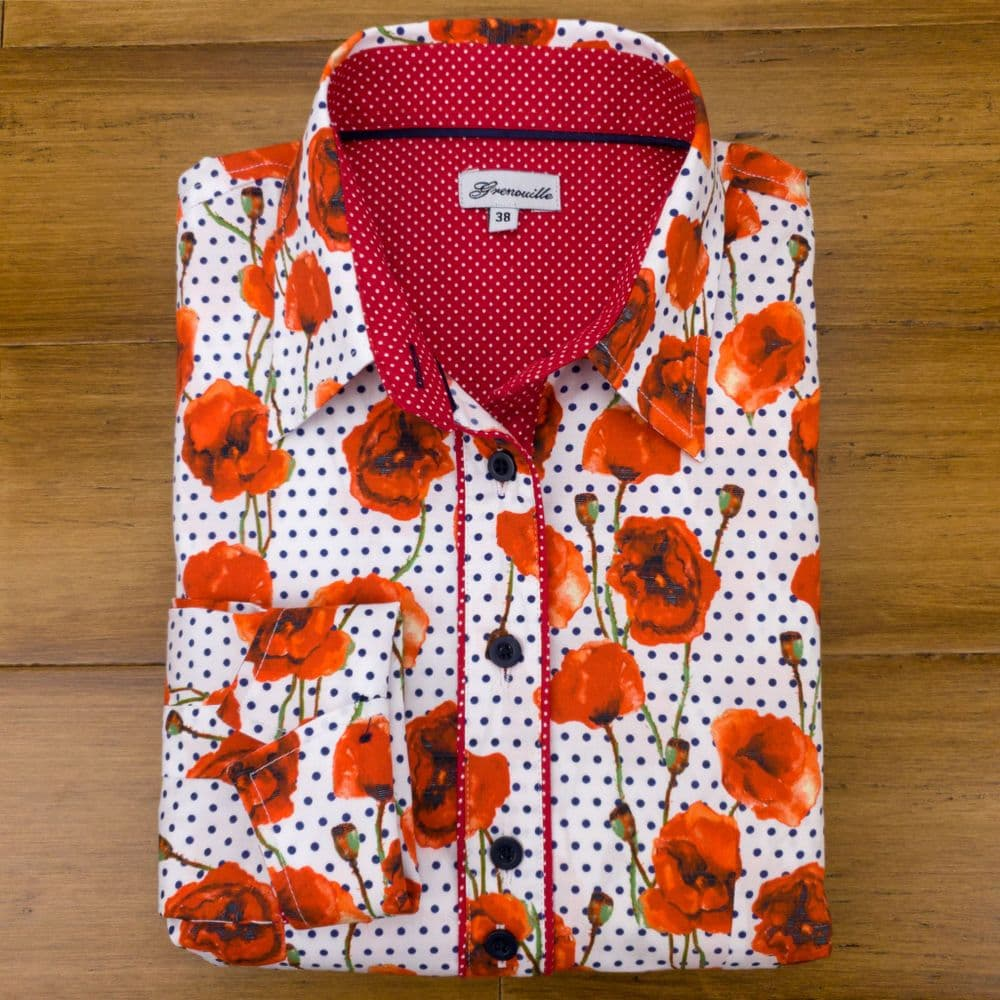 Grenouille Ladies Long Sleeve Red Poppies on Navy Polka Dots Stretch Cotton Shirt