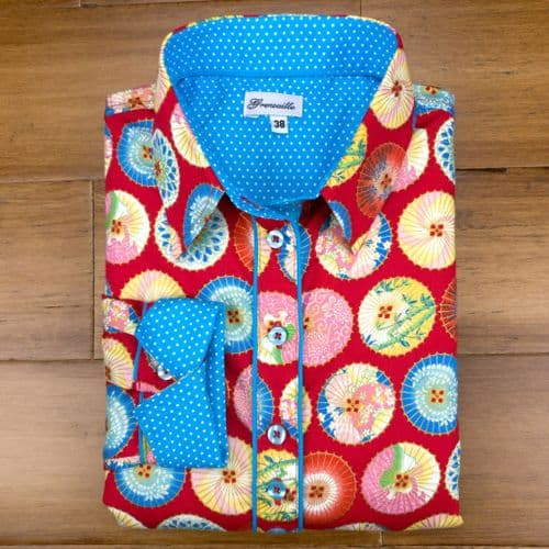 Grenouille Ladies Long Sleeve Red Shirt with Blue and Gold Japanese Parasol Motif