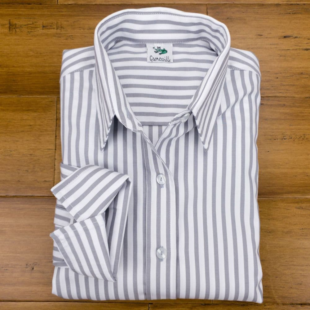 Grenouille Ladies Long Sleeve Silver Grey Stripe Cotton Twill Cocktail Cuff Shirt