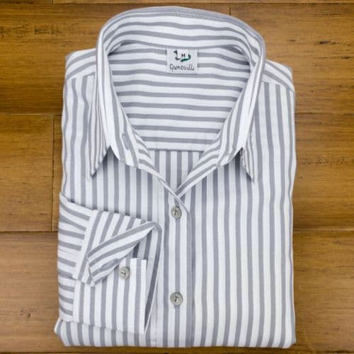 Grenouille Ladies Long Sleeve Silver Grey Stripe Cotton Twill Shirt