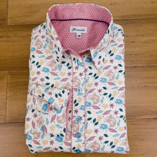 Grenouille Ladies Long Sleeve Squirrel and Leaves Print Shirt