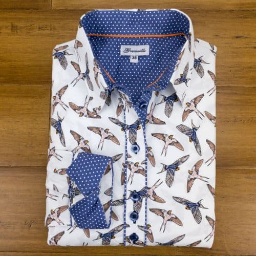 Grenouille Ladies Long Sleeve Swallow Print Shirt